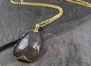 Fancy cut Labradorite 14k gold Pendant Gemstone Necklace gemstone Jewelry byAngeline 1559
