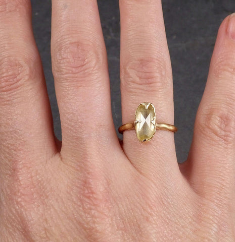 Fancy cut Yellow Sapphire 14k gold Solitaire Ring Gold Gemstone Engagement Ring 1958