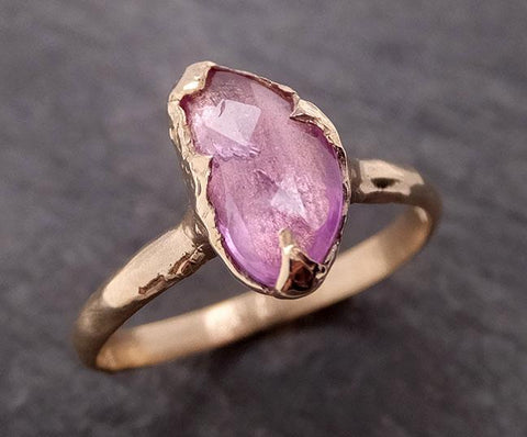 Fancy cut Pink Sapphire 14k gold Solitaire Ring Gold Gemstone Engagement Ring 1959
