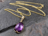 Fancy cut Amethyst necklace pendant Yellow 14k Gold Gemstone recycled 1561