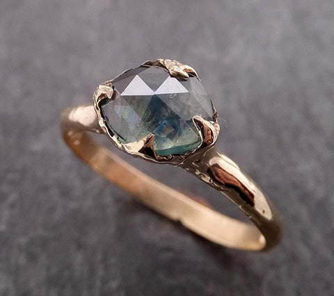 Fancy cut Montana green Sapphire 14k Yellow gold Solitaire Ring Gold Gemstone Engagement Ring 1956