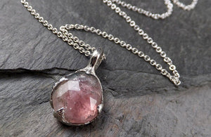 Fancy cut pink Tourmaline 14k White gold Pendant Gemstone Necklace gemstone Jewelry byAngeline 1562