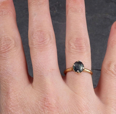 Fancy cut Montana blue Sapphire 14k Yellow gold Solitaire Ring Gold Gemstone Engagement Ring 1957