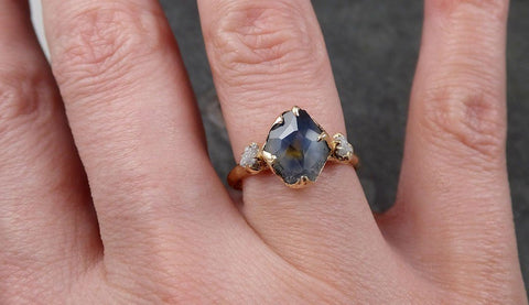 Partially faceted Montana Sapphire natural Blue sapphire gemstone Raw Rough Diamond 14k Yellow Gold Engagement multi stone 1566