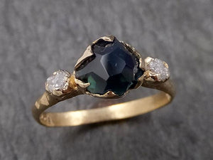 Partially faceted Montana Sapphire natural green sapphire gemstone Raw Rough Diamond 14k Yellow Gold Ring Engagement multi stone 1567