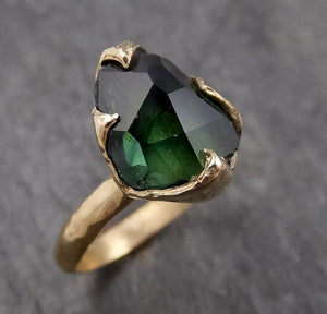 Partially faceted Solitaire Green Tourmaline 14k Rose Gold Engagement Ring One Of a Kind Gemstone Ring byAngeline 1569