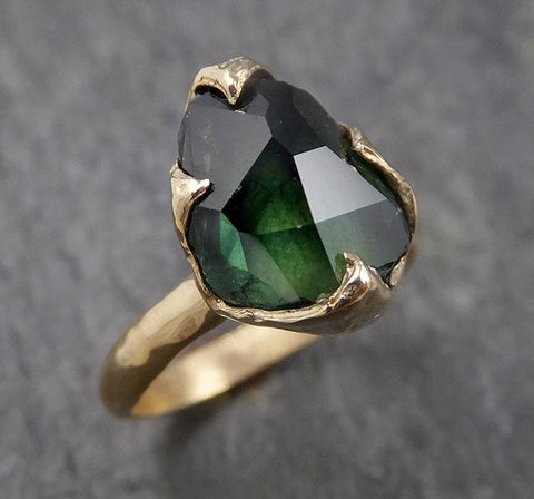 Partially faceted Solitaire Green Tourmaline 14k Yellow Gold Engagement Ring One Of a Kind Gemstone Ring byAngeline 1569