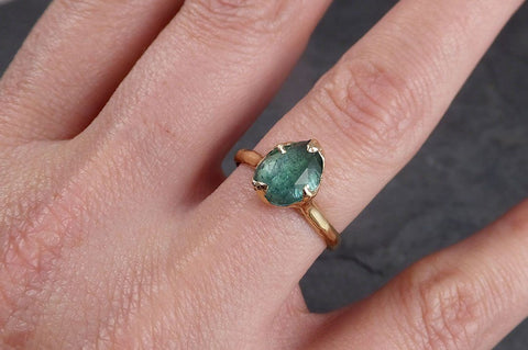 Fancy cut Green Tourmaline Yellow Gold Ring Gemstone Solitaire recycled 14k statement cocktail statement 1955