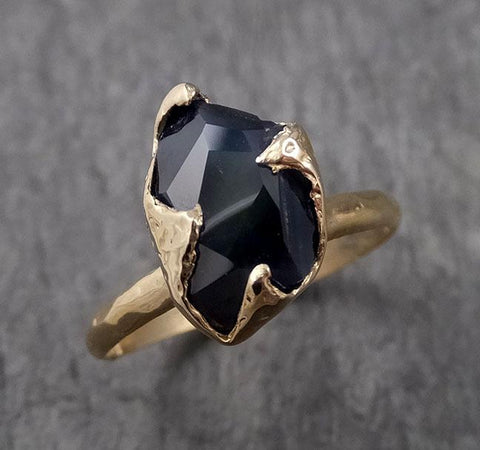 Partially Faceted Sapphire Solitaire 14k yellow Gold Engagement Ring Wedding Ring Custom One Of a Kind Gemstone Ring 1568