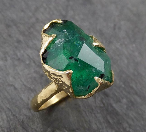 Partially Faceted Emerald Solitaire and yellow 18k Gold Ring Birthstone One Of a Kind Gemstone Cocktail Ring Recycled 1564