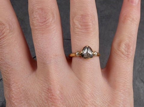 Fancy cut Salt and Pepper Diamond Engagement 18k Yellow Gold Multi stone Wedding Ring Stacking Rough Diamond Ring byAngeline 1960