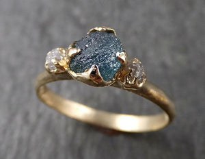 Montana Sapphire rough Diamond Yellow 14k Gold Engagement Ring Wedding Ring Custom One Of a Kind Gemstone Multi stone Ring 1570