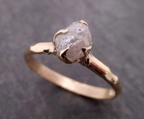 Raw Diamond Engagement Ring Rough Uncut Diamond Solitaire Recycled 14k yellow gold Conflict Free Diamond Wedding Promise 1964