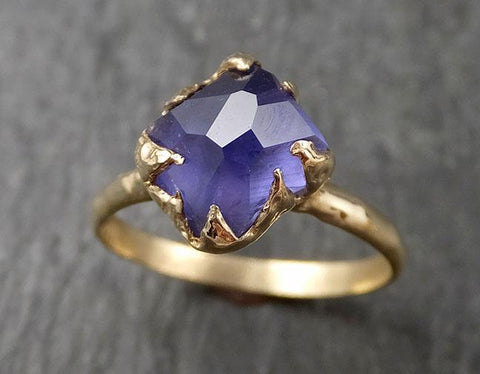 Partially Faceted Sapphire Solitaire 14k yellow Gold Engagement Ring Wedding Ring Custom One Of a Kind Gemstone Ring 1571