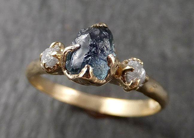 Montana Sapphire rough Diamond Yellow 14k Gold Engagement Ring Wedding Ring Custom One Of a Kind Gemstone Multi stone Ring 1577