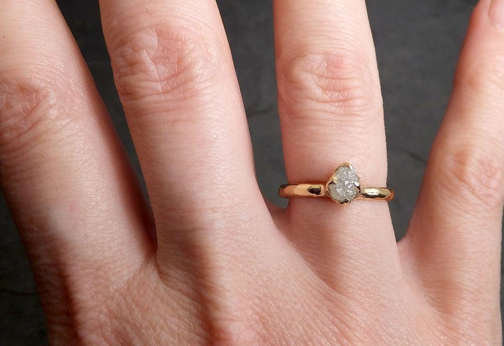 Dainty Raw Diamond Rose gold Engagement Ring multi stone Rough Gold Wedding Ring diamond Wedding Ring Rough Diamond Ring byAngeline 0398