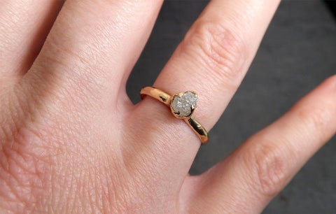 Raw Diamond Engagement Ring Rough Uncut Diamond Solitaire Recycled 14k yellow gold Conflict Free Diamond Wedding Promise 1967