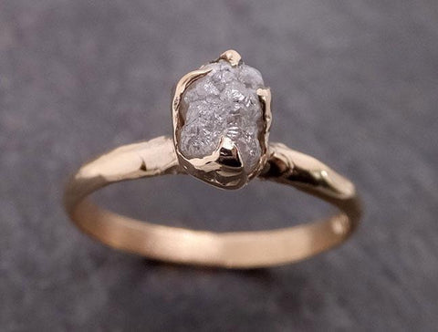 Raw Diamond Engagement Ring Rough Uncut Diamond Solitaire Recycled 14k yellow gold Conflict Free Diamond Wedding Promise 1968