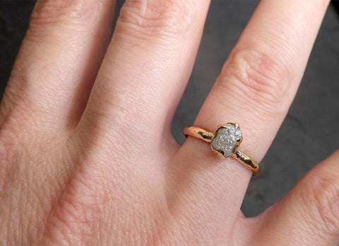 Fancy cut salt and pepper Diamond Solitaire Engagement 18k yellow Gold Wedding Ring Diamond Ring byAngeline 0849