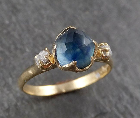 Partially faceted Montana Sapphire Diamond 14k yellow Gold Engagement Ring Wedding Ring Custom One Of a Kind blue Gemstone Ring Multi stone Ring 1575