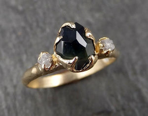 Partially faceted Montana Sapphire natural green sapphire gemstone Raw Rough Diamond 14k Yellow Gold Engagement ring multi stone 1576