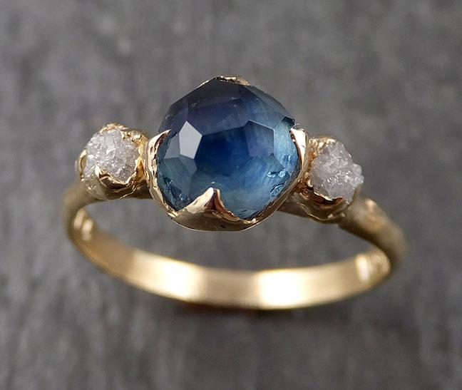 Montana Blue Sapphire rough Diamond 14k yellow Gold Partially Faceted Engagement Ring Wedding Ring Gemstone Ring Multi stone Ring 1574