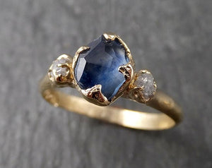 Partially faceted Montana Sapphire Diamond 14k yellow Gold Engagement Ring Wedding Ring Custom One Of a Kind blue Gemstone Ring Multi stone Ring 1573