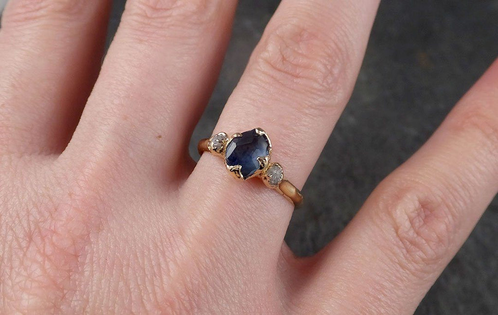 Partially Faceted Sapphire Raw Multi stone Rough Diamond 14k rose Gold Engagement Ring Wedding Ring Custom One Of a Kind Gemstone Ring 1204
