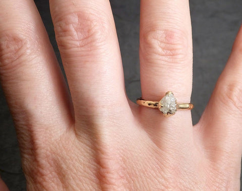 Raw Diamond Engagement Ring Rough Uncut Diamond Solitaire Recycled 14k yellow gold Conflict Free Diamond Wedding Promise 1973