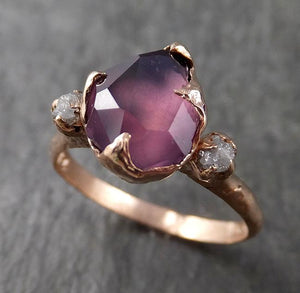 Alternative engagement ring Partially Faceted purple Spinel 14k Rose gold Multi Stone Ring Gold Gemstone 1578