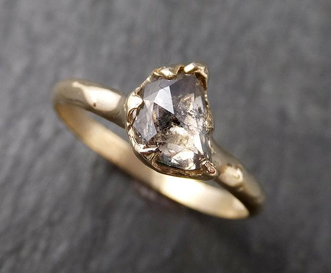 Raw Rough Uncut Diamond Engagement Ring Rough Diamond Solitaire 14k white gold Conflict Free Diamond Wedding Promise byAngeline 0359