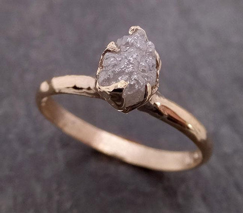 Raw Diamond Engagement Ring Rough Uncut Diamond Solitaire Recycled 14k yellow gold Conflict Free Diamond Wedding Promise 1975