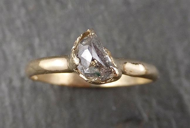 Fancy Cut Half Moon Diamond Solitaire Engagement 14k Gold Wedding Ring byAngeline 1583