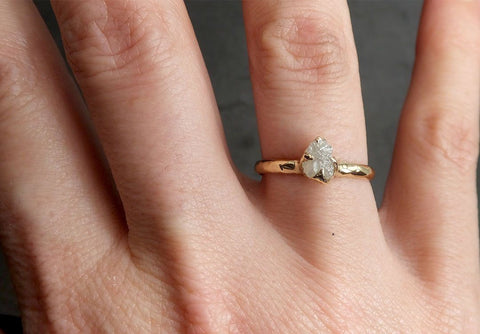Raw Diamond Engagement Ring Rough Uncut Diamond Solitaire Recycled 14k yellow gold Conflict Free Diamond Wedding Promise 1976