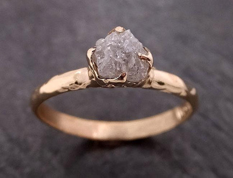 Raw Diamond Engagement Ring Rough Uncut Diamond Solitaire Recycled 14k yellow gold Conflict Free Diamond Wedding Promise 1979
