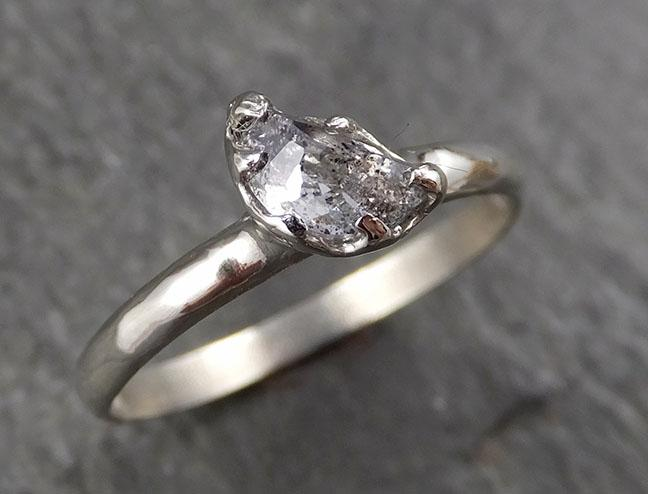 Rough Diamond Engagement Ring Raw 14k White Gold Wedding Ring diamond three stone Rough Diamond Ring byAngeline 0365 - Gemstone ring by Angeline