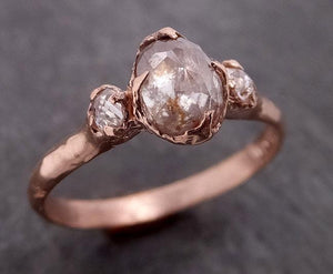 Fancy cut white Diamond Engagement 14k Rose Gold Multi stone Wedding Ring byAngeline 1986