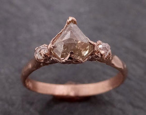 Fancy cut white Diamond Engagement 14k Rose Gold Multi stone Wedding Ring byAngeline 1984