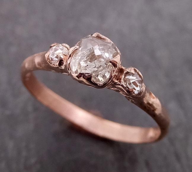 Fancy cut white Diamond Engagement 14k Rose Gold Multi stone Wedding Ring byAngeline 1988