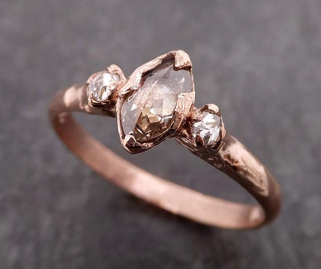 Fancy cut white Diamond Engagement 14k Rose Gold Multi stone Wedding Ring byAngeline 1985
