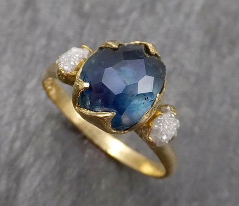 Partially faceted Montana Sapphire Diamond 18k yellow Gold Engagement Ring Wedding Ring Custom One Of a Kind blue Gemstone Ring Multi stone Ring 1603