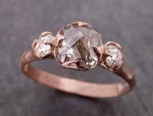Fancy cut white Diamond Engagement 14k Rose Gold Multi stone Wedding Ring byAngeline 1980