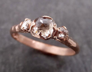 Fancy cut white Diamond Engagement 14k Rose Gold Multi stone Wedding Ring byAngeline 1981