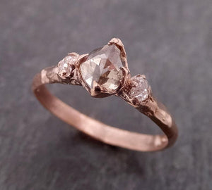 Champagne Fancy cut Diamond Engagement 14k Rose Gold Multi stone Wedding byAngeline 1993