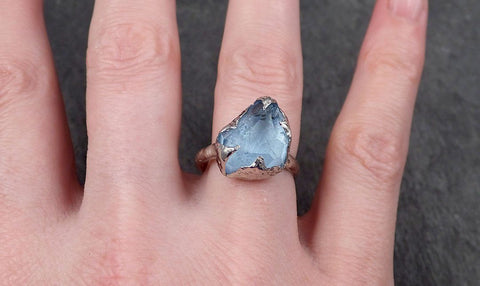 Partially faceted Aquamarine Solitaire Ring 14k White gold Custom One Of a Kind Gemstone Ring Bespoke byAngeline 1605