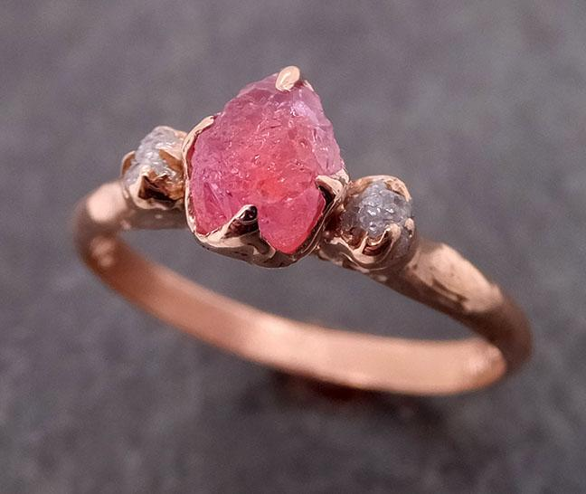 Sapphire Raw Multi stone Rough Diamond 14k rose Gold Engagement Ring Wedding Ring Custom One Of a Kind Gemstone Ring 1989