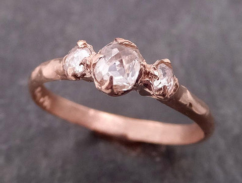 Fancy cut Salt and pepper Solitaire Diamond Engagement 14k Rose Gold Wedding Ring byAngeline 0866