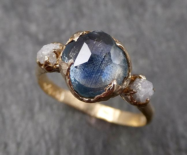 Partially faceted Montana Sapphire Diamond 14k yellow Gold Engagement Ring Wedding Ring Custom One Of a Kind blue Gemstone Ring Multi stone Ring 1602
