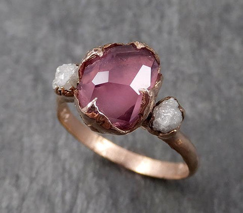 Alternative engagement ring Partially Faceted purple Spinel 14k Rose gold Multi Stone Ring Gold Gemstone 1601