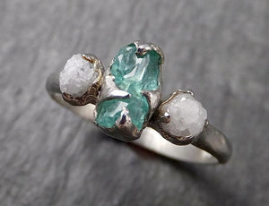 Raw Rough Emerald Conflict Free Diamonds Multi stone  White Gold Ring One Of a Kind Gemstone Engagement Wedding Ring Recycled gold byAngeline  1611